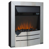 Electric Fire Brushed Steel remote control freestanding