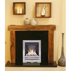 NEW Solid Acacia Arena fireplace Black Granite and Albion Gas Fire