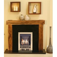 NEW Solid Acacia Arena fireplace Black Granite and Brass Gas Fire