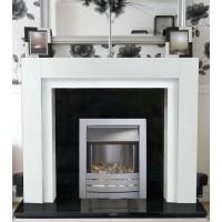White Como downlights with Brushed Steel Flame Electric Fire