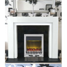 Como fireplace in White / Black Granite with Chrome Electric Fire