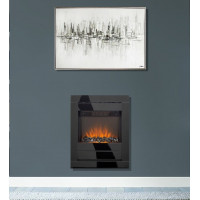 Electric Fire Black glass frame remote control wall mounted