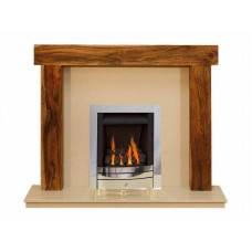 NEW Solid Acacia Arena fireplace Cream Marble and Meridan Gas Fire