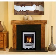 NEW Solid Acacia Arena fireplace Black Granite and Meridan Gas Fire