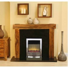 NEW Solid Acacia Arena fireplace Black Granite Electra electric Fire