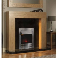NEW OAK SHELLY FIREPLACE SILVER FLAME ELECTRIC FIRE