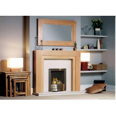 Fireplace Suite: The Como in Oak / Cream Marble With Albion Gas Fire