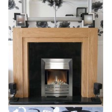 NEW Solid Como fireplace in Oak / Black Granite with Silver Electric Fire