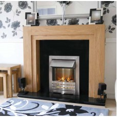 Fireplace Suite: The Como in Oak with Brushed Steel Electric Fire