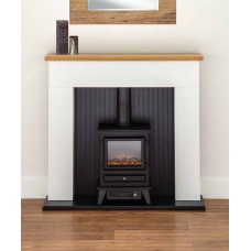 Complete White Fireplace Suite with Electric Stove