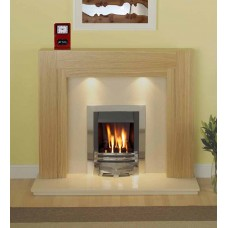Como Fireplace in Oak / Cream Marble Meridian Gas Fire