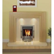 Como Fireplace in Oak / Cream Marble Meridian Gas Fire