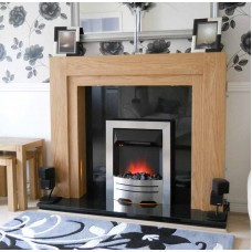 Como fireplace Oak / Black Granite Chrome Electric Fire