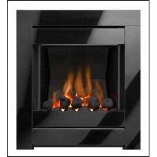 CRISTAL INSET GAS FIRE BLACK GLASS