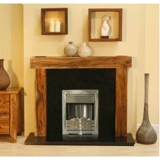 NEW Solid Acacia Arena fireplace Black Granite Pebble electric Fire