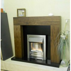 ORWELL WALNUT FIREPLACE BLACK GRANITE PEBBLE FIRE