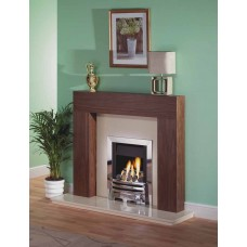 NEW WALNUT SHELLY MERIDIAN GAS FIRE MARBLE FIREPLACE