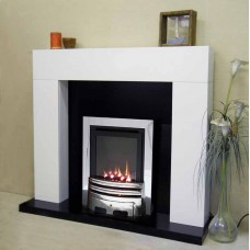 WHITE SHELLY MERIDIAN H.E. GAS FIRE GRANITE FIREPLACE