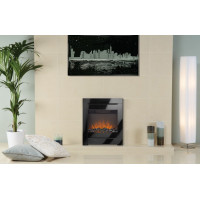 Electric Fire Black glass frame remote control freestanding