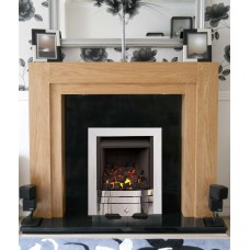 NEW OAK COMO CHROME ALBION GAS FIRE GRANITE FIREPLACE