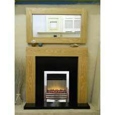 NEW OAK SHELLY FIREPLACE CHROME ELECTRA FLAME ELECTRIC FIRE