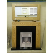NEW OAK SHELLY FIREPLACE SILVER PEBBLE ELECTRIC FIRE