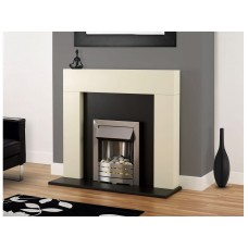 Fireplace Suite: The Shelly in White with Stainless Steel Electric Fire