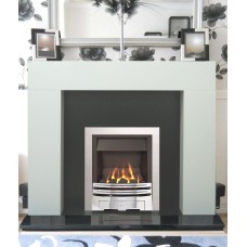 Fireplace Suite: The Shelly in White with Silver Albion Gas Fire