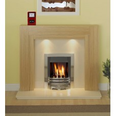 Fireplace Suite: The Como Fireplace in Oak / Cream Marble & Albion Gas Fire