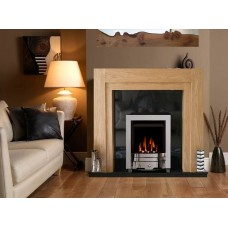 NEW The Como fireplace in Oak / Black Granite with Chrome Electric Fire