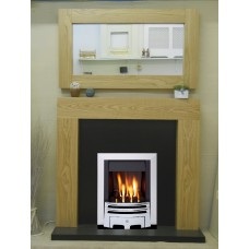 NEW SOLID OAK SHELLY MERIDIAN GAS FIRE GRANITE FIREPLACE